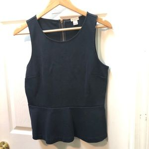 J. Crew Black Peplum Tank Top Structured